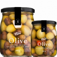 Cocktail Oliven m. Knoblauch u. Chili, 260 g - Viani
