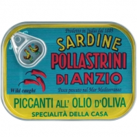 Sardinen in Olivenöl pikant, 100 g - Pollastrini